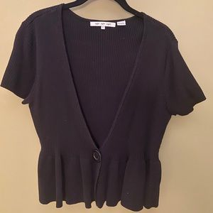 Peplum Short Sleeve Sweater with Button